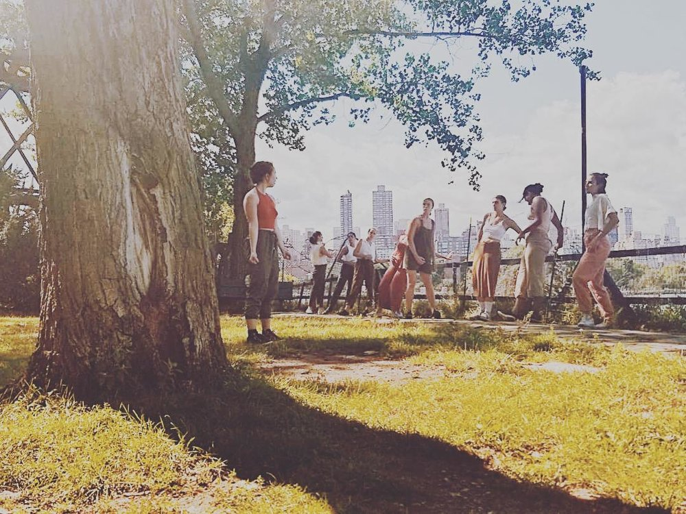 full, flock, folk, together (2018) - a site responsive work featuring 10 bodies exploring the geographical barriers that separate us citizens. Presented as Socrates Sculpture Park as a Part of INSITU 2018.
