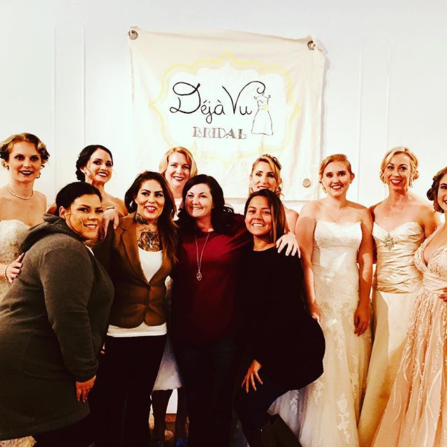 "Rock'in the runway! The Decorated Bride showed up and made ""faces"", braids, buns and waves for Deja Vu's fashion show at My Wedding Library. Hair by Danelle and Tish / Makeup by Richelle for The Decorated Bride! #tdbrocksbeauty #renolaketahoeweddings  #hairandmakeup"