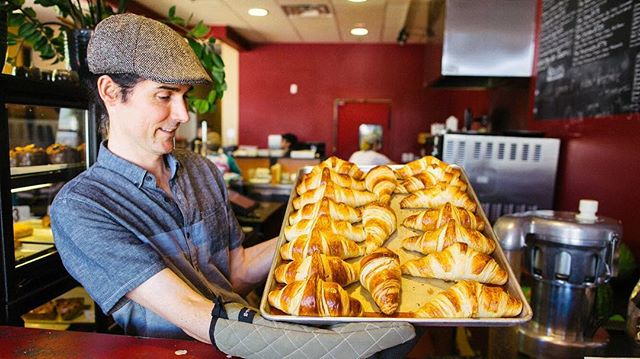 Our fresh & flaky croissants come hot from our oven every day! #baguettecafelv #lasvegas #fresh #frenchfood #breakfast #lunch #lasvegascityguide #goodeats #frenchcafe