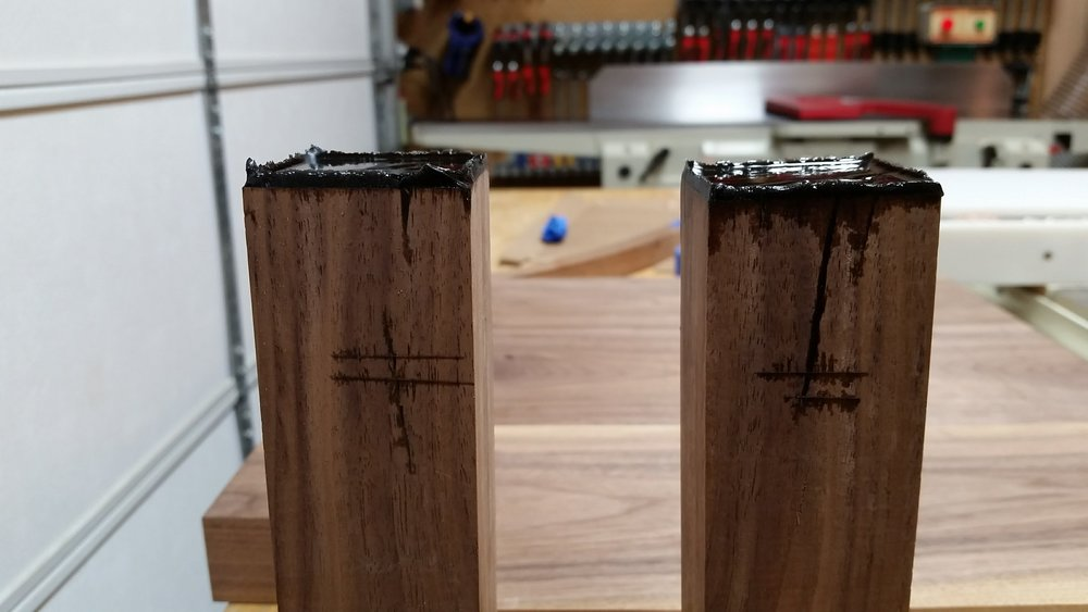 Front legs with voids filled with epoxy.
