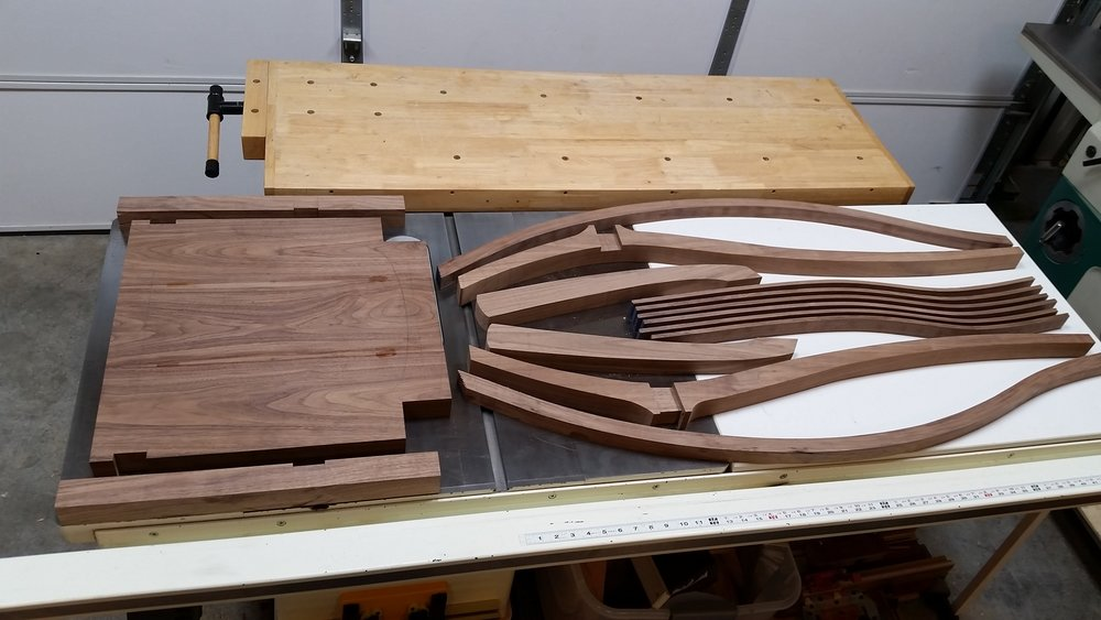 Here are all the chair parts that I've made so far.