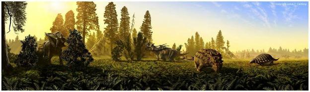 Cada grupo de dinosaurios estaba especializado en alimentarse de un tipo de planta [Créditos: Julius T. Csotonyi, un impresionante paleo-artista con una gran pasión por los dinosaurios. ¡Aquí está su página:http://www.csotonyi.com/!]