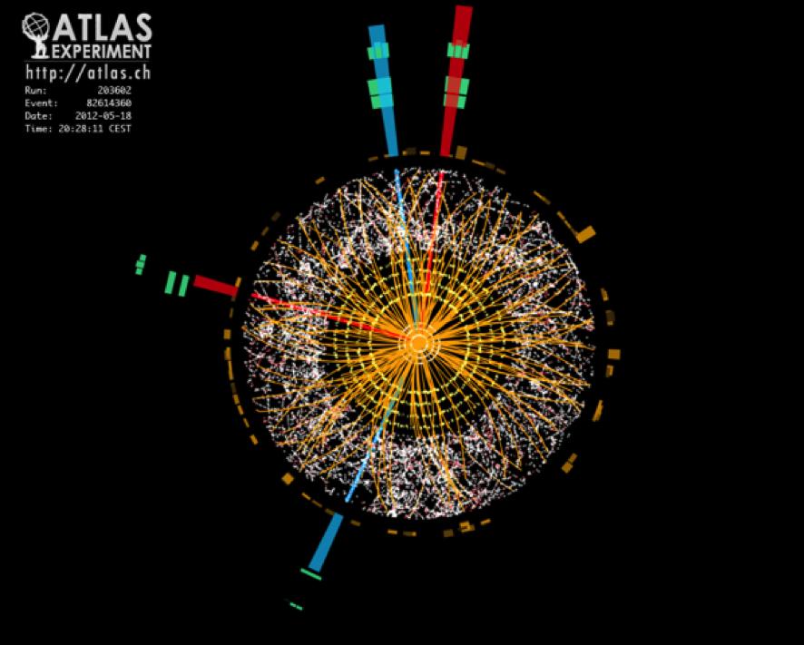Evento real de detección de un bosón de Higgs en el detector ATLAS del Gran Colisionador de Hadrones. El bosón de la imagen se encuentra decayendo en dos pares de electrones marcados en rojo y azul. ATLAS Experiment © 2014 CERN.