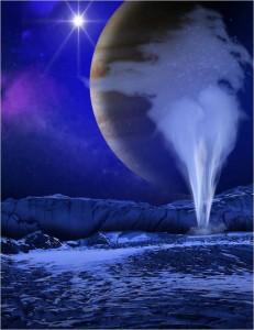 Representación artística de las columnas de vapor de agua que se cree son arrojadas desde la superficie de Europa, uno de los satélites de Júpiter. (Tomada de la nota fuente. Creditos: NASA/ES/K. Retherford/SWRI).