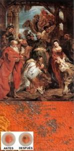 """Arriba, """"La adoración de los magos"""" de Peter Paul Rubens, tomada de Wikimedia Commons. Abajo, un acercamiento a las manchas en la pintura original y, en el recuadro, las manchas obtenidas por el equipo de De Wael antes y después de aplicar el agua salada y la luz. (Tomada de la nota fuente)."""