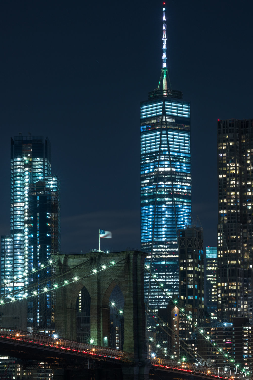 Manhatten Bridge and the World Trade Center at Night
