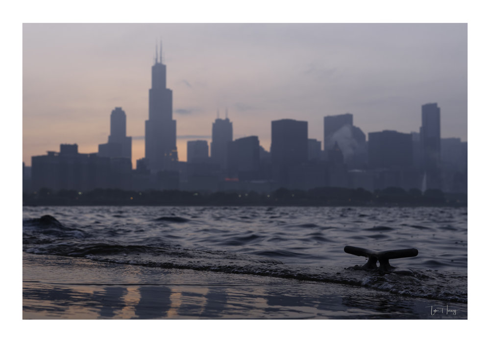 Chicago Skyline Sunset Anchor in Lake Michigan Water.jpg