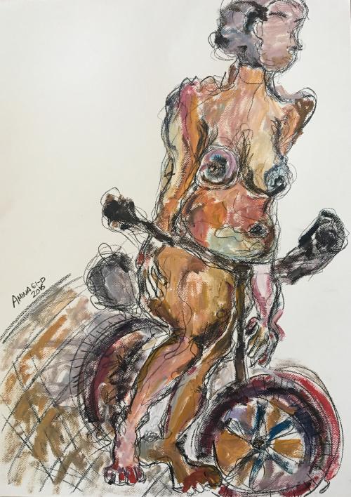 Woman on Bike I  70cm * 50cm 2016