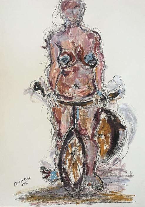 Woman on Bike II 70cm * 50cm 2016