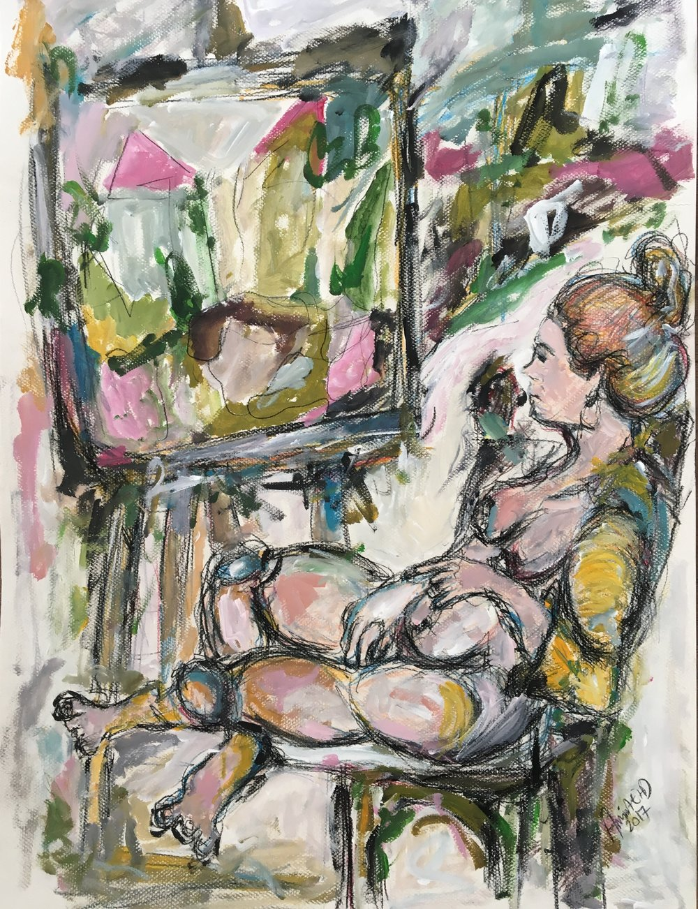 An artist & her easel    70cm * 50cm 2017