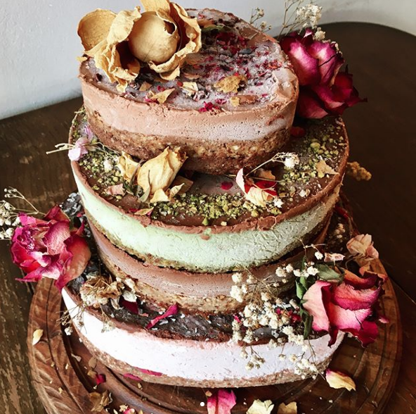 Perfect for Weddings ....This Raw beauty is a 3 tiered affair of Raw Salted Caramel, Almond and Cacao, and Matcha Cheesecake. We can combine any of our cakes to create your tower of dreams!