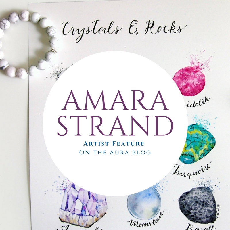 Aura Featured Artist: Amara Strand - urban sketch artist taking inspiration from Aura Howlite bracelet to do a watercolor of crystals and rocks