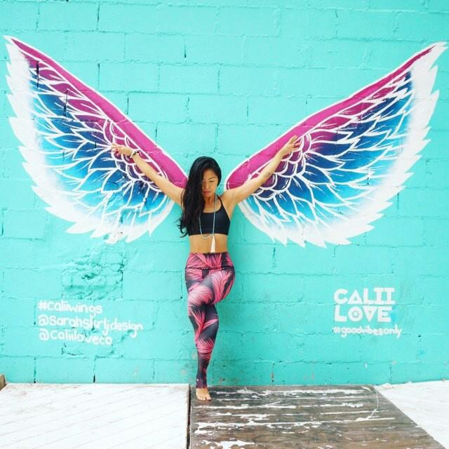 Su at Cali Love wearing wings and our Aura gemstone bracelet