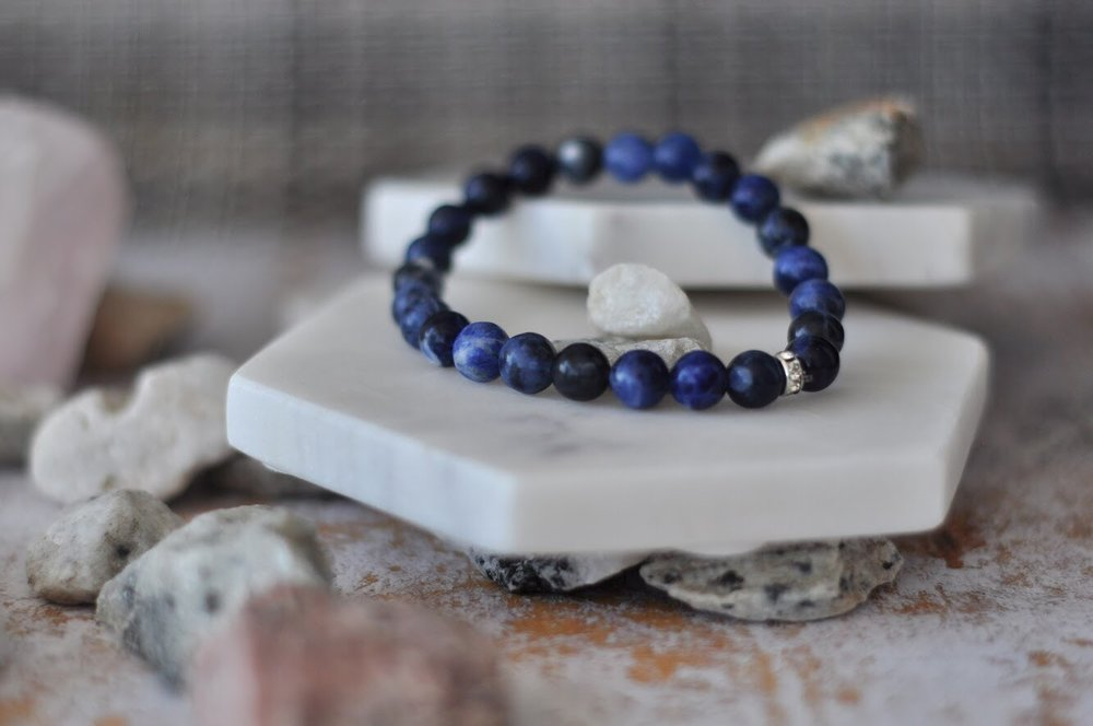 Natural gemstone yoga bracelets by Aura - blue sodalite