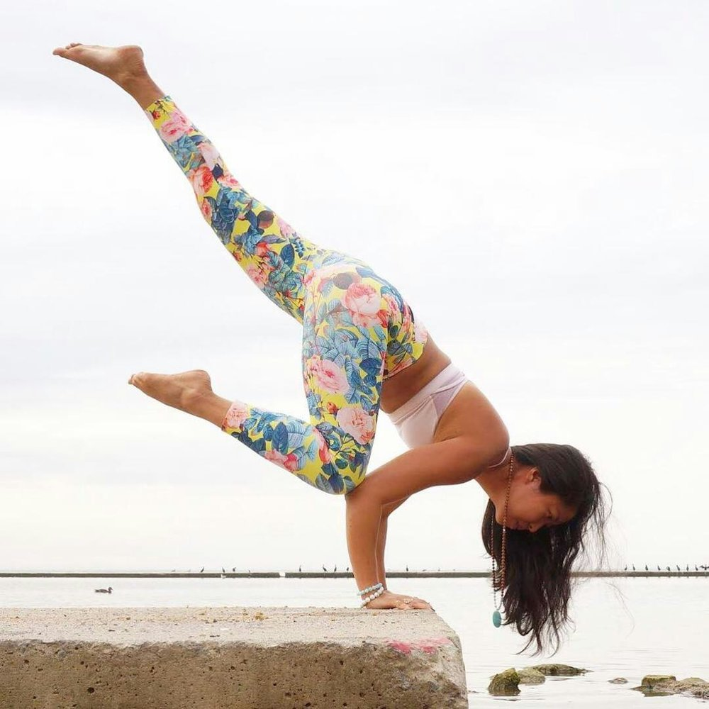 Great handstand yoga pose by Su from Toronto. Wearing Aura gemstone bracelets.