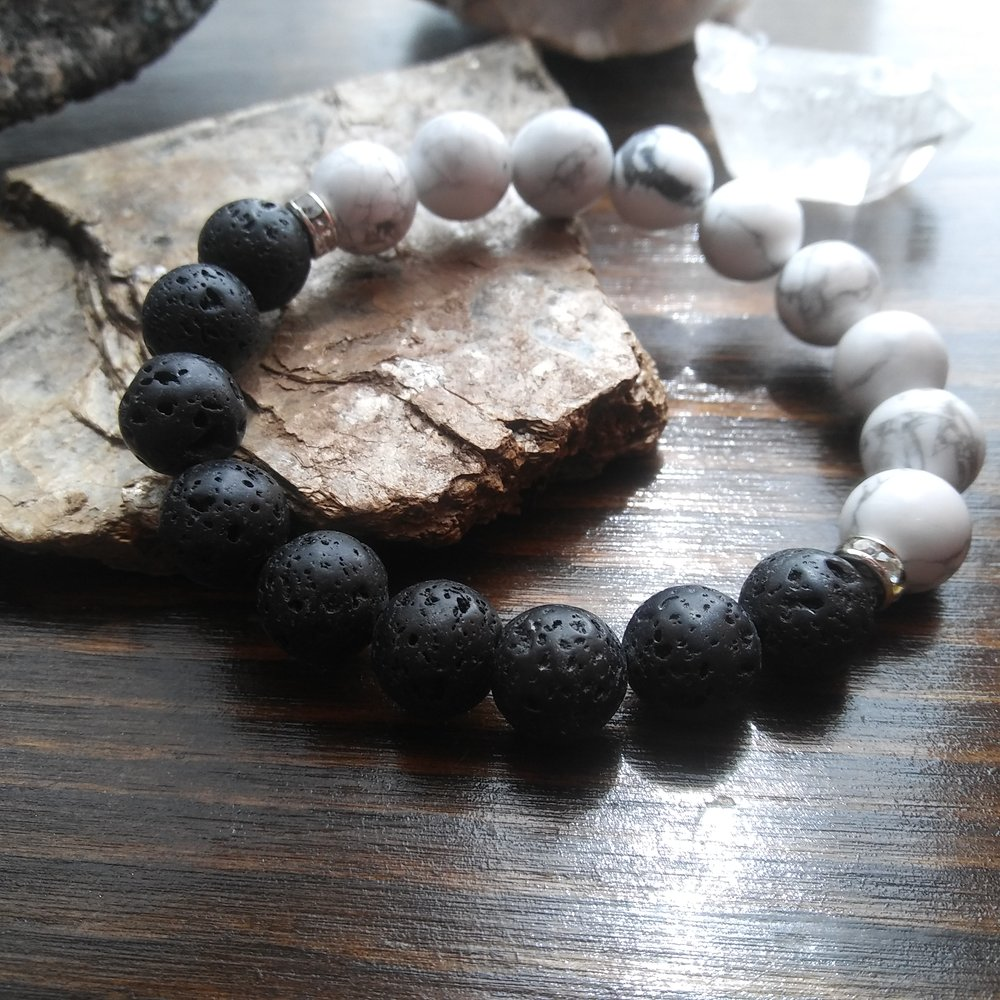 Howlite and Basalt bracelet by Aura