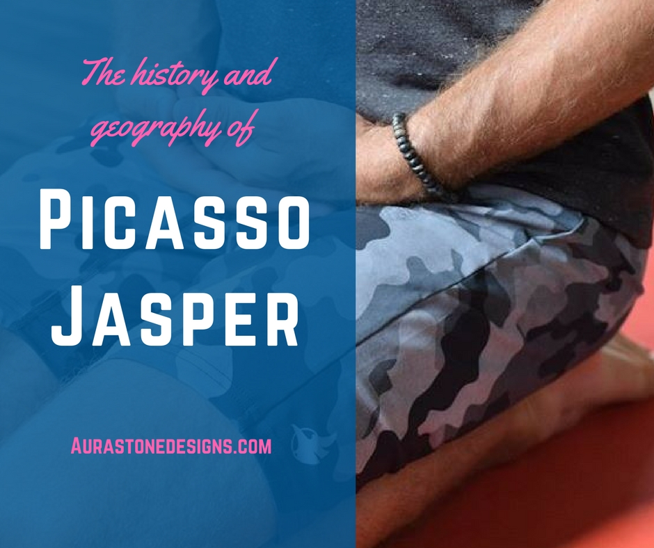 History and geology of Picasso Jasper - Picasso Jasper can be found as having black, tan  brown, cream, gray, and the occasional red. The colours and patterns of this stone are related to the way the stone is created. Jasper is a variety of Chalcedony, which is a microcrystalline variety of Quartz. It is a metamorphic limestone that undergoes several transformations of heat and pressure deep within the earth, resulting in the beautiful layered look. It may go through metamorphic changes more than once; adding new elements to it's composition. The lines and any web-like markings are caused by iron oxides.  Jasper is Greek for 'spotted stone', referring to it's spotted and multi-coloured appearance. Picasso Jasper is sometimes called Picasso Marble or Picasso Stone. Picasso Jasper's creative look with shades of grey often form patterns like a a beautiful painting. it's named after the cubist painter, Pablo Picasso - it's striking and it demands your attention.