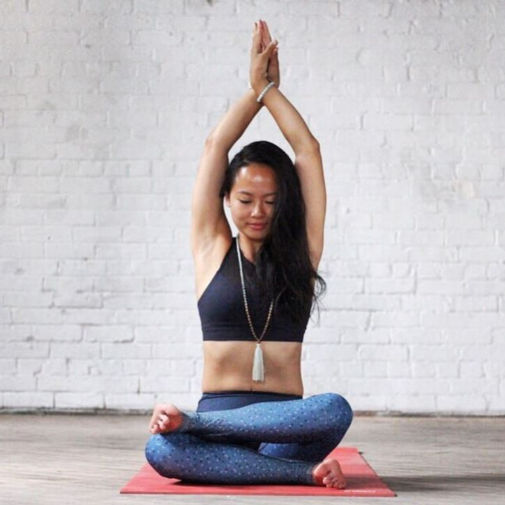 Toronto Yoga teacher, Queenie, wearing Aura bracelet in Amazonite