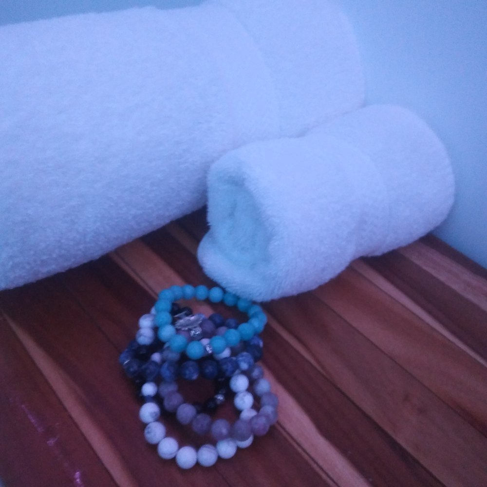 My stack of Aura bracelets are ready for me afterwards