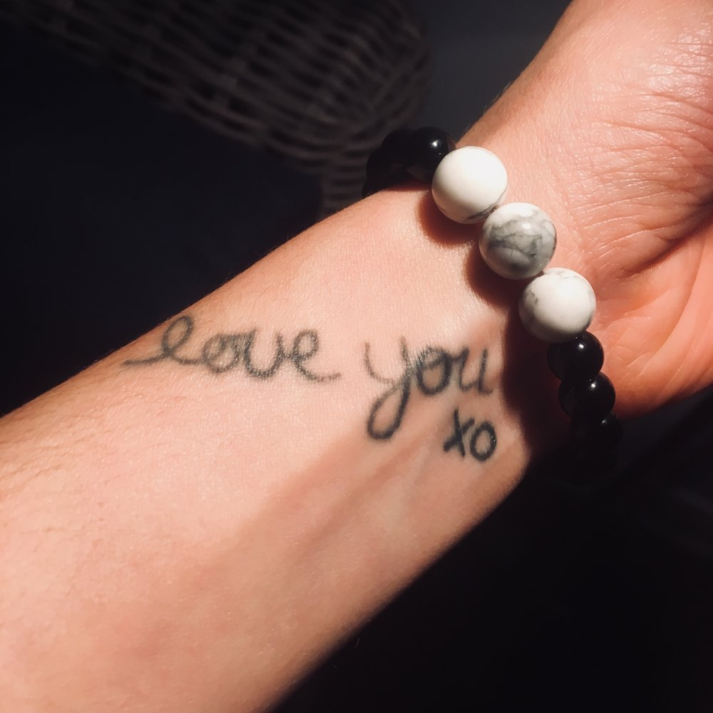 Love you! XO Tina's wrist tattoo