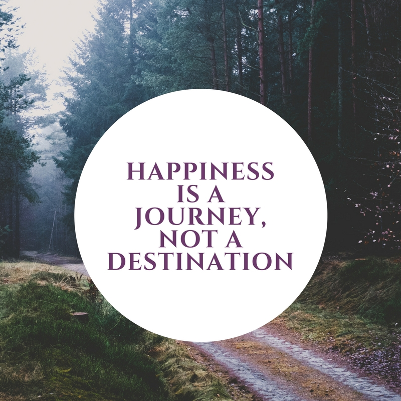 Happiness is a journey, not a destination - Life isn't a puzzle with a finite number of pieces that you have to put together. Life is fluid with ups and downs and times when it feels stagnant. Know that a getting a particular job or fixing an issue in a relationship isn't going to bring you instant and never ending happiness. You don't drink a bunch of water one day and think it's going to keep you hydrated for all the days following - you put it into your routine and continuously work towards maintaining. Happiness is something that you work on, strive for and maintain. Knowing this can help keep you focused, decreased disappointment, and help you enjoy the journey. Celebrate the milestones, celebrate the journey.