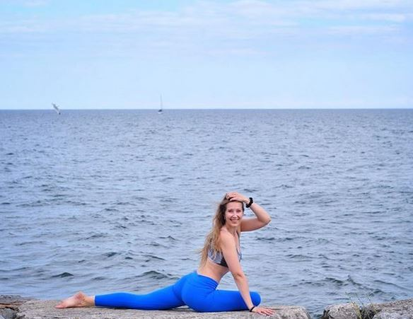 Yoga break by the lake with Darya