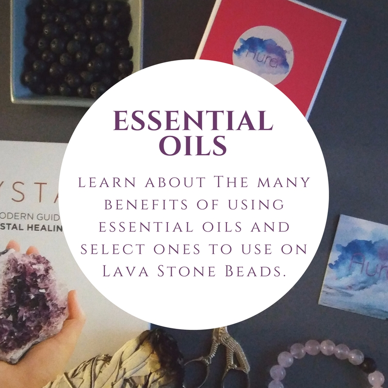 Essential oils - Essential oils have many benefits and there are a variety of ways to encourage them into your daily routines. Wendy will share information while you smell and select ones that resonate with you.One way of using essential oils is rubbing them on basalt/lava stone beads. The porous nature of lava stones act as a natural essential oil diffuser. Place one drop of your favorite essential oil on the black lava beads. A little goes a long way! The surface of the lava beads are porous with small craters and they will absorb the oil. Rub in the oil and then wait a few minutes for the oil to absorb into the naturally porous surface of the bead before putting it on, to avoid staining your clothes. Depending on the potency of your essential oil, your scent will last 1-2 days. When the aromatherapy fades, you can use more oil on them. You can reapply the oils as often as you prefer and any oil that you like. It's also okay to switch what oil you want to use on them.