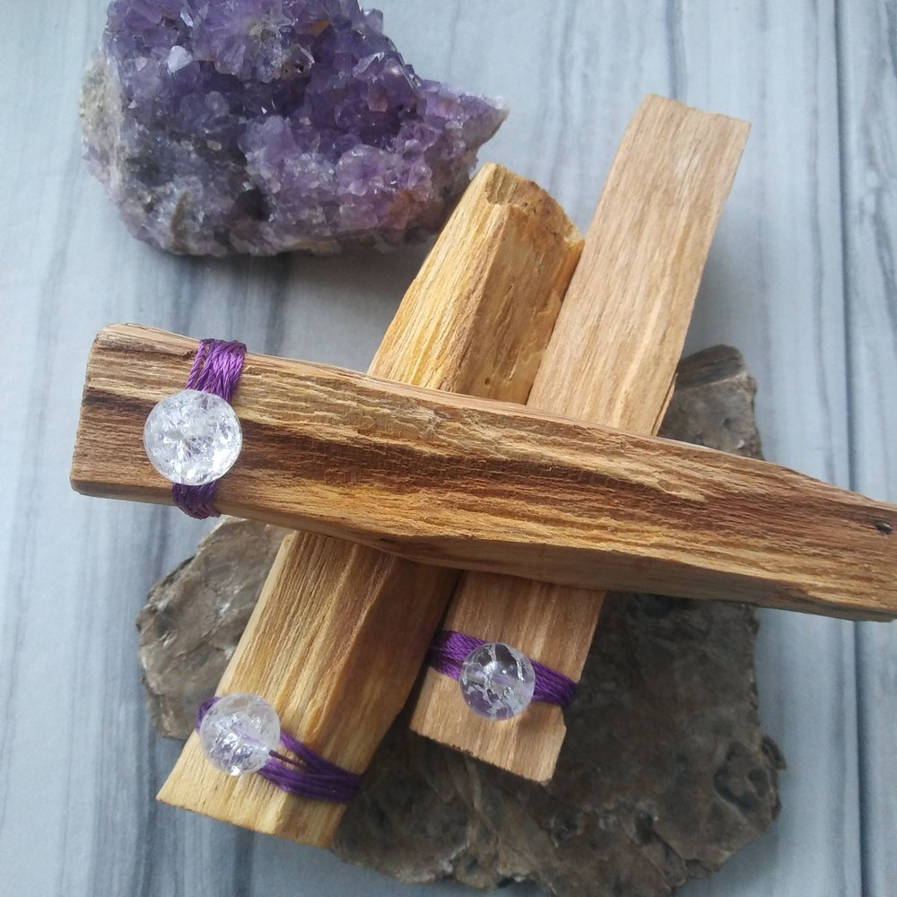 Pairing with crystals - You can use Palo Santo to smudge your crystals and gemstone bracelets....you can also use that powerful crystal energy too!All our Palo Santo is paired with gemstones. All minerals have an ordered atomic arrangement which means they have an internal crystalline structure that is the same throughout. Each mineral has its own unique vibration and energy. When we bring them into our electromagnetic field or Aura, it is believed that the crystal can help us move, absorb, focus, direct, and diffuse energy within the body and our space. Their presence gives both your consciousness and subconsciousness helpful nudges whenever you use your Palo Santo.
