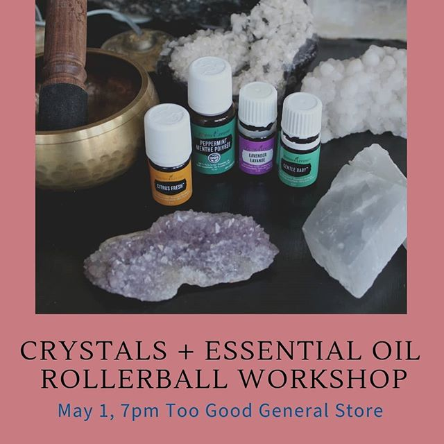 💎 Cystals + 💐 Essential Oils = one fun night of learning and creating. 💜 @aurastonedesigns Has teamed up with @holistic.vitality.yl to host a workshop were you will learn the basics of essential oils and magical world of crystals! You'll then be able to put that knowledge to work and make two of your very own rollerballs to take home! 👭 For my York Region, Ontario friends - click the link in our profile to sign up! May 1st, 7pm at @toogoodgeneralstore on @mainstreetunionville in Markham, Ontario. 🤗So excited to connect with some of you again in person...and for my friends globally, I will share a blog post and pictures afterwards! 🤗