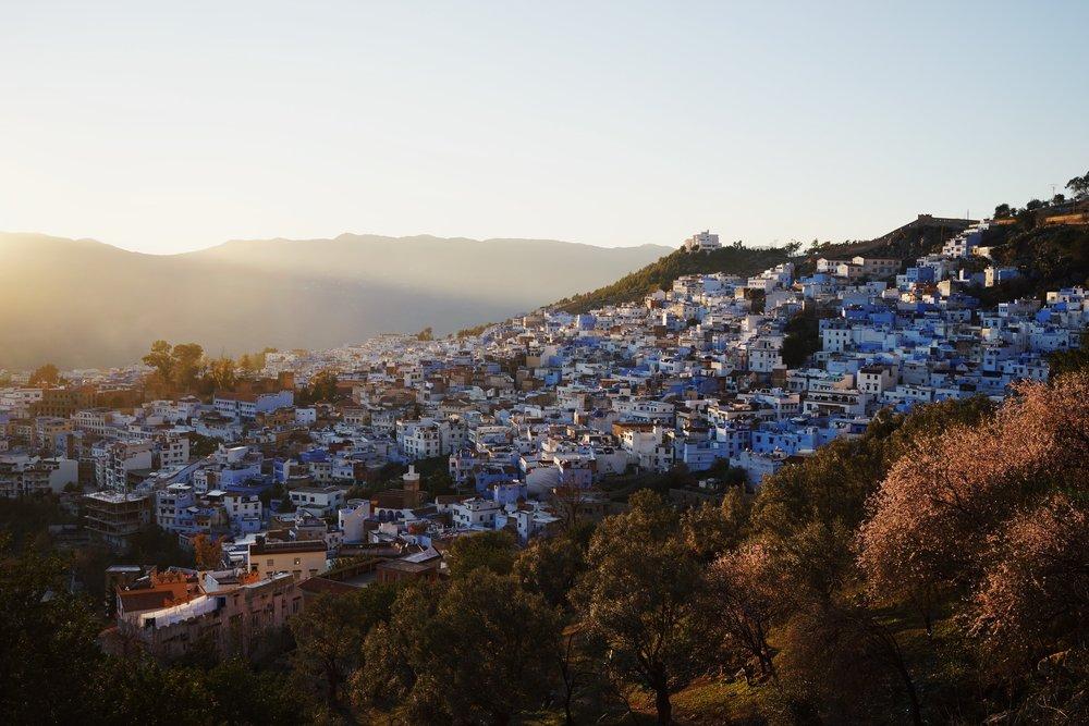 เมืองสีฟ้า chefchaouenช่วงพระอาทิตย์ตก