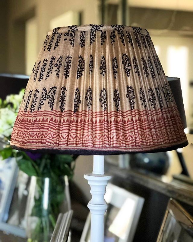 | S I L K  S A R I  L A M P S H A D E S | Navy & Rust on Gold | Limited edition now in stock 🦋 . .  #handmadelampshades #bespokelampshades #limitededition #sarilampshades #lampshadedesign #madeinengland #silksari