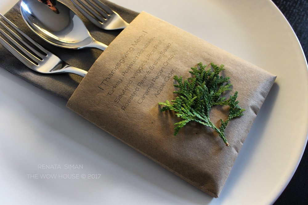 Print your Thanksgiving Menu on construction paper. Fold a paper pocket to hold the fabric napkin and flatware. Using a hot-glue gun attach a small green sprig you clipped outside. You may want to print each guest's name on the pocket too. Or not.