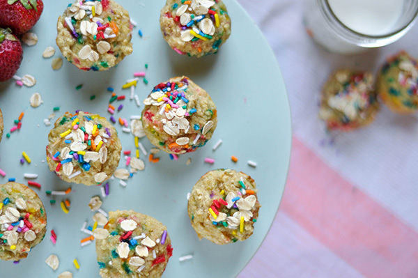 Healthy Banana Birthday Cake Mini Muffins