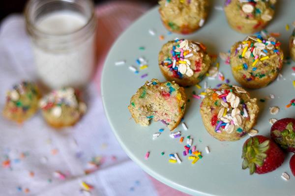 Healthy Banana Oat Funfetti Muffins Bite