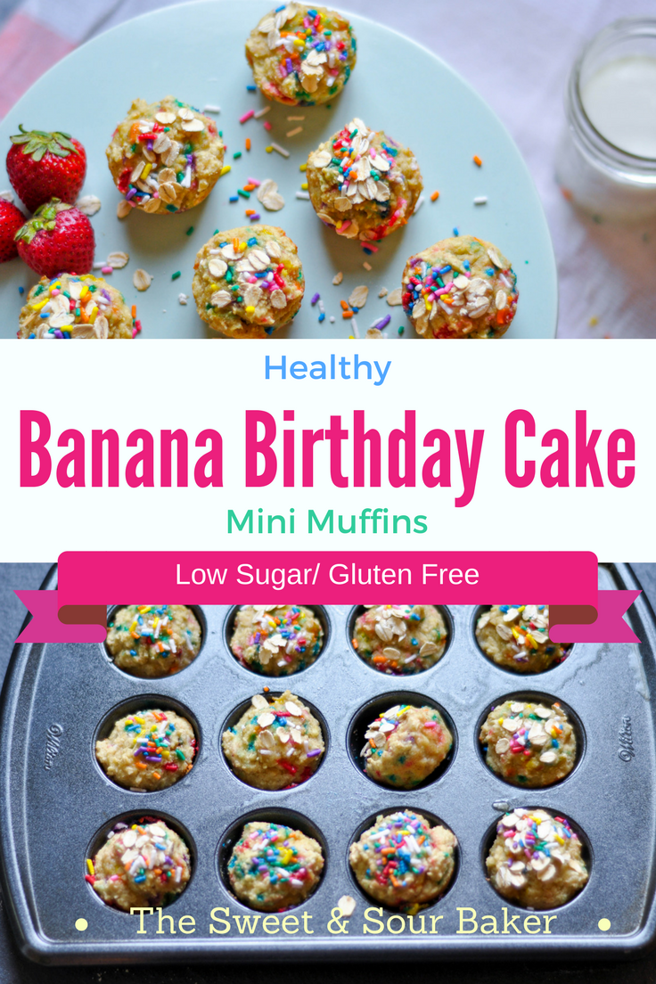 Healthy Banana Birthday Cake Mini Muffins The Sweet Sour Baker