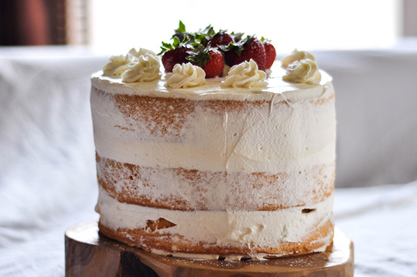 Strawberries and cream chiffon sponge__ finished cake whole.jpg