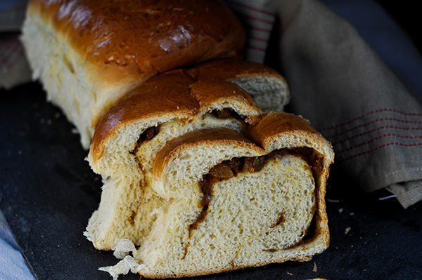 Pumpkin Raisin Swirled Milk Bread_sliced loaf overhead.jpg