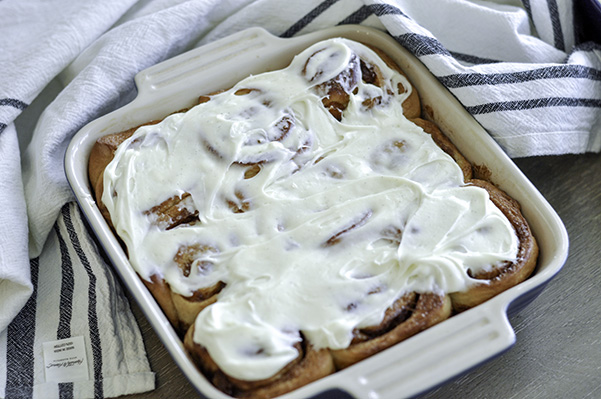 Peach Cobbler Cinnamon Rolls_square pan frosted.jpg