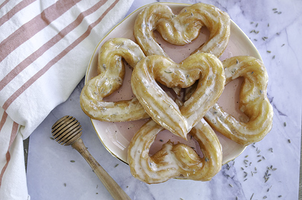 Honey Lavender French Crullers_Heart overhead plate.jpg