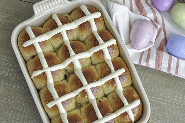 Cardamom Raisin Hot Cross Buns_iced buns overhead.jpg