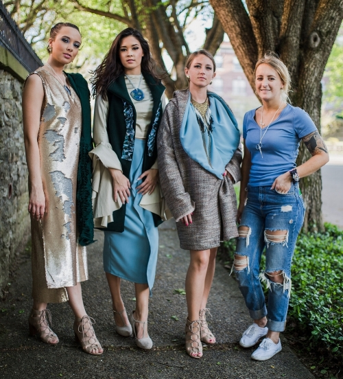 Three Looks from Unbound Collection    Pictured from left to right: Danielle Pinlon, Nicole Wess, Gabrielle Richardson, Paige Thinnes