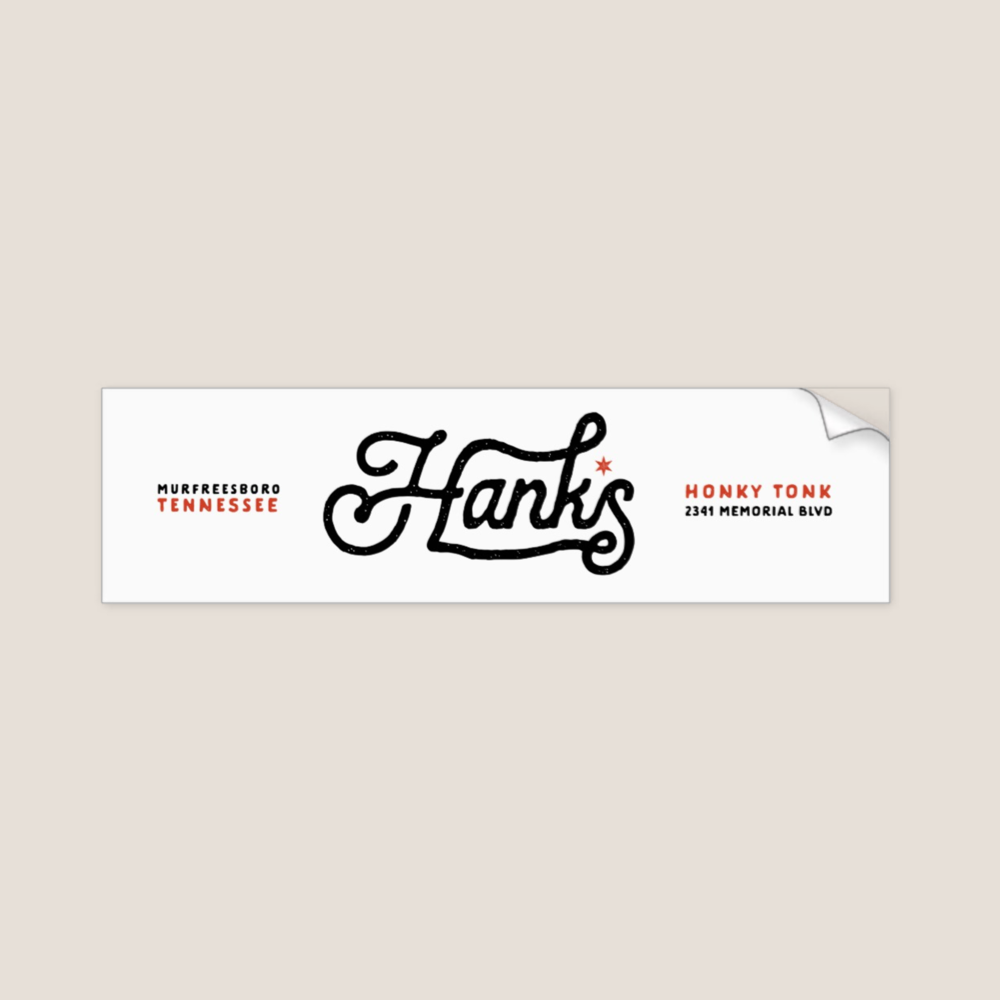 "Hank*s White Bumper Sticker 3"" x 11"" 