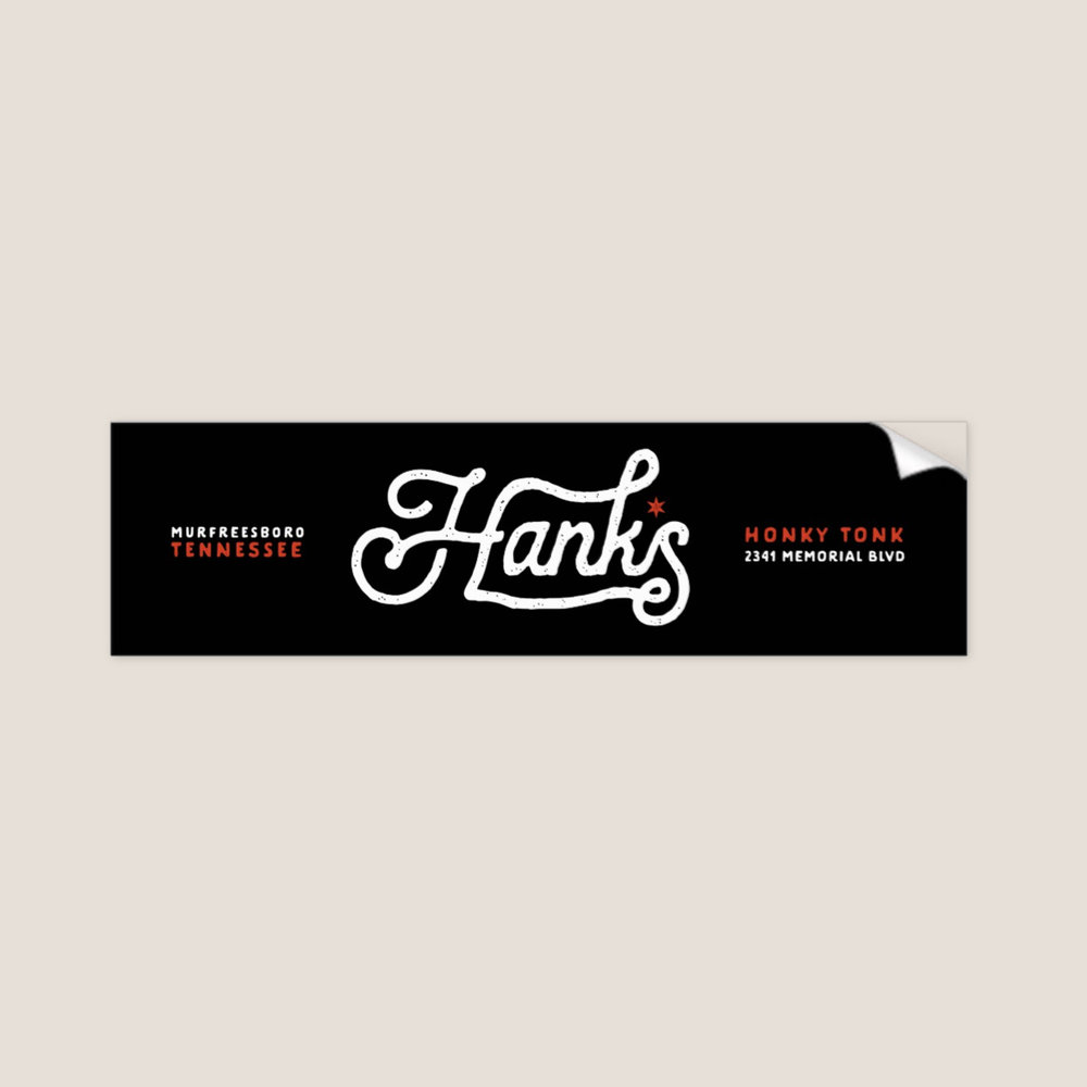 "Hank*s Black Bumper Sticker 3"" x 11"" 