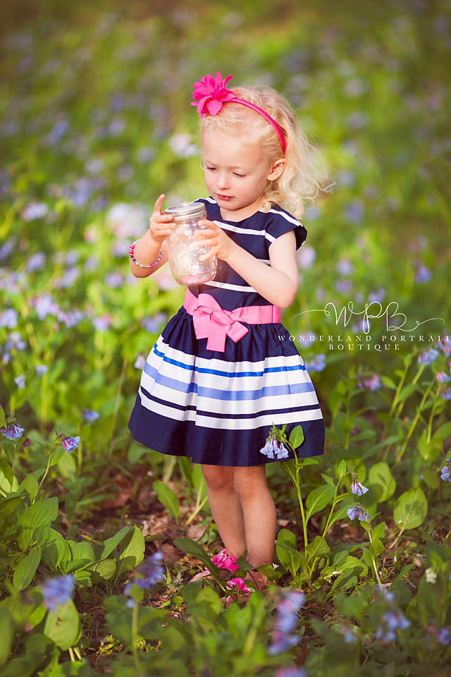 Tyler park Portrait session, Virginia Blue Bells, April Spring Session 3rd Birthday Girl Tinker bell in Jar