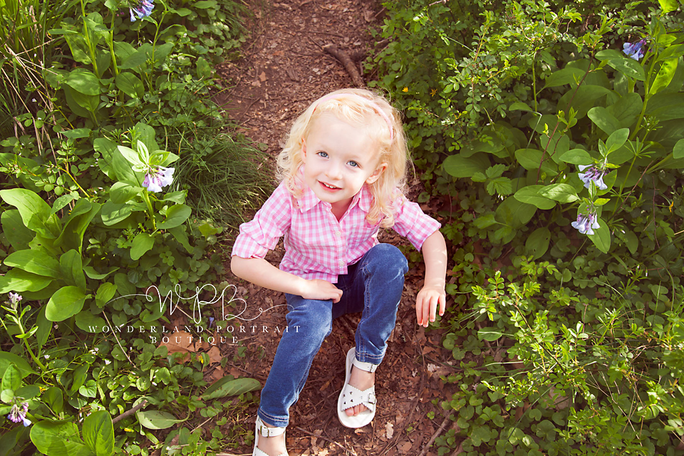 Tyler park Portrait session, Virginia Blue Bells, April Spring Session 3rd Birthday Girl