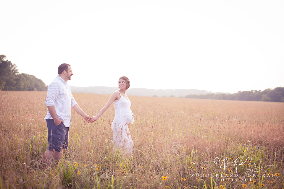 Maternity Session Field of tall grass Sun set Newtown PA