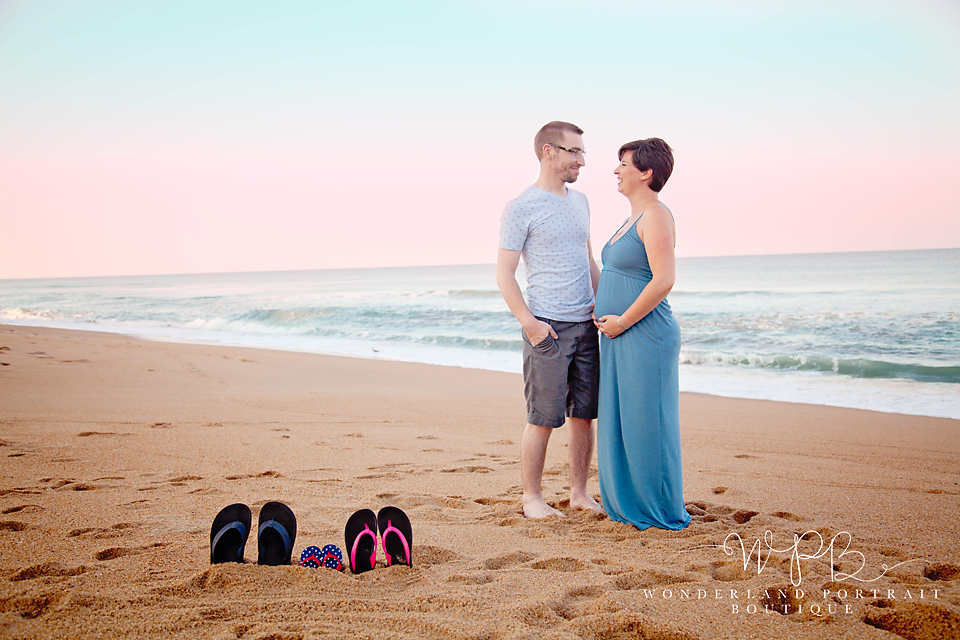 Outer Banks NC Pregnancy Announcement WonderlandPortait.com