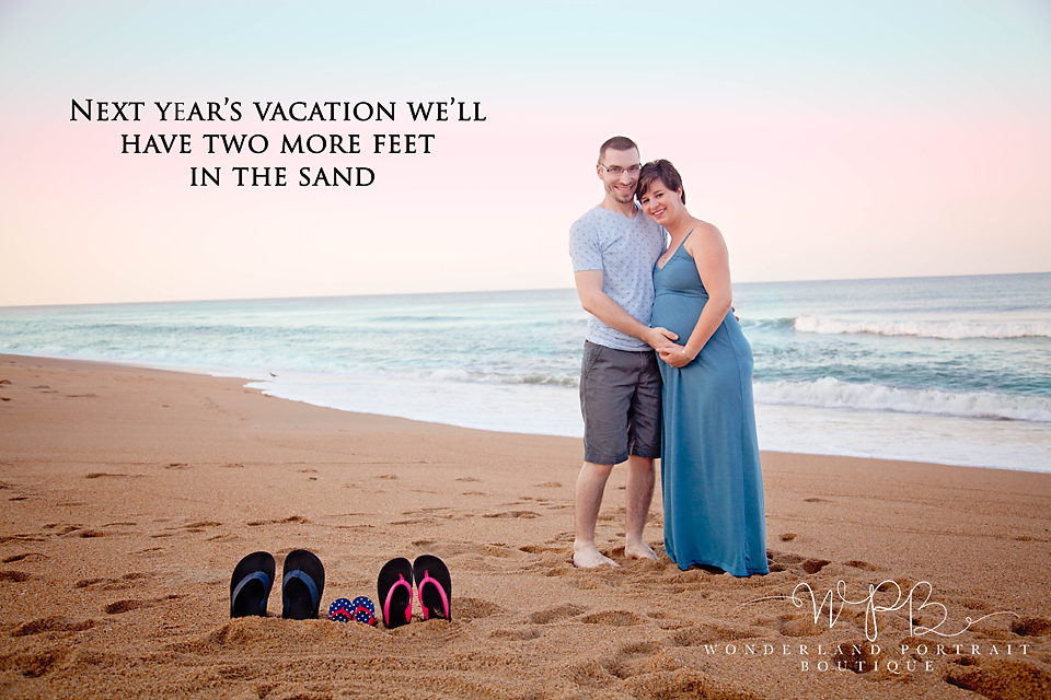 Outer Banks NC Beach Pregnancy Announcement WonderlandPortrait.com