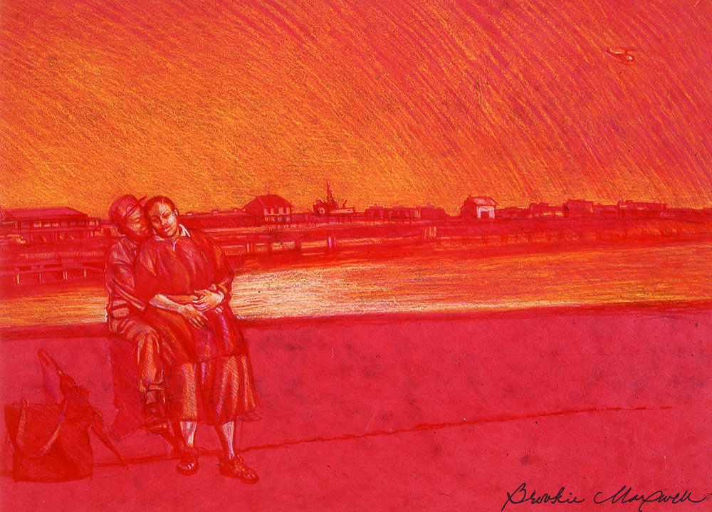 "Stay Just a Little Bit Longer ,        Caran d'ache crayon on paper, 25 x 32"", 1998-2000"