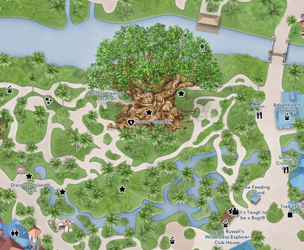 Map of Discovery Island at Disney World  Sourche:  Disney World